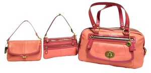 Coach Bonnie Cashin Carryall Leather Satchel in Coral