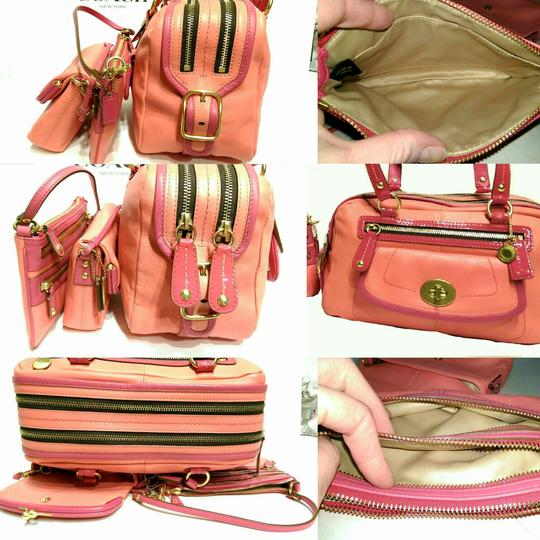 Coach Bonnie Cashin Carryall Leather Satchel in Coral Image 2