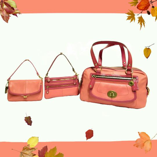 Coach Bonnie Cashin Carryall Leather Satchel in Coral Image 3