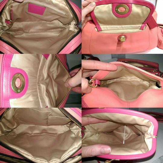Coach Bonnie Cashin Carryall Leather Satchel in Coral Image 4