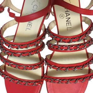 Chanel Chain Slip On Strap Red Sandals