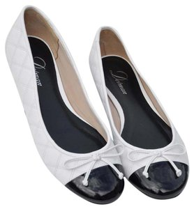 Delman Quilted White Leather w/Patent Toes Flats