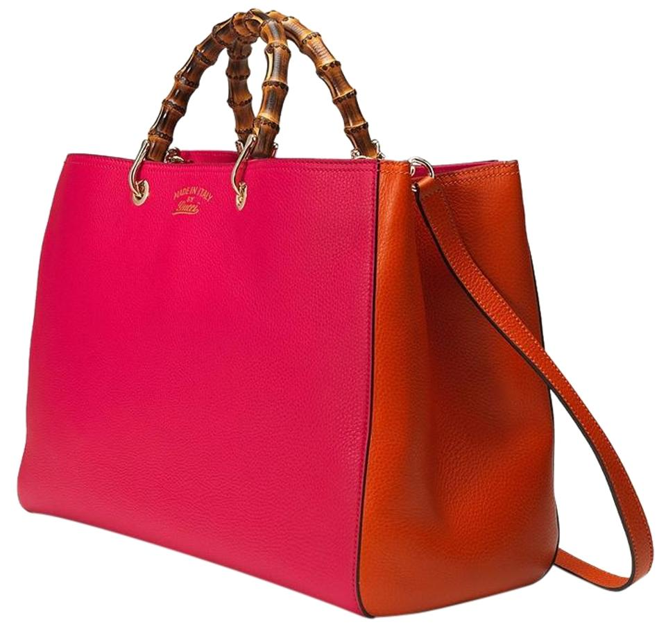8c8cfb6b42f8 Gucci Bamboo Shoulder Bicolor Large Made In Italy Tote in Fuchsia/Orange  Image 0 ...