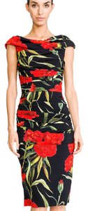 Dolce&Gabbana Dolce Cady Carnation Cap Sleeve Dress Top Red, green, black size 46