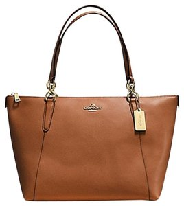 Coach Satchel Leather Satchel Tote in Saddle gold tone
