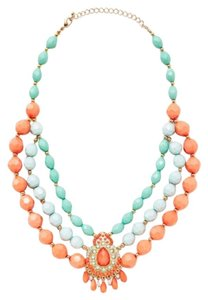 Leslie Danzis Turquoise & Coral Multi Strand Necklace