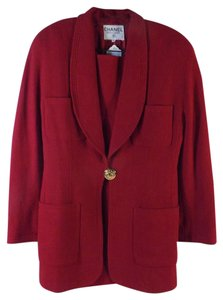 Chanel CHANEL Authentic Red Wool Suit (Jacket & Skirt)
