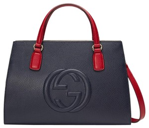 Gucci Gg Red White Soho Tote in Blue