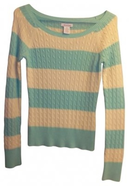 Preload https://img-static.tradesy.com/item/20124/aeropostale-mintyellow-mintyellow-stripes-sweaterpullover-size-8-m-0-0-650-650.jpg