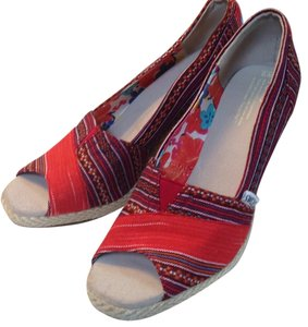 TOMS Red, orange,white, blue Wedges