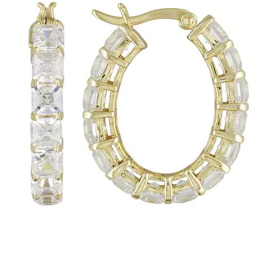Preload https://img-static.tradesy.com/item/20124113/clear-asscher-cut-14ctw-18ct-yellow-gold-over-sterling-silver-hoops-earrings-0-2-540-540.jpg