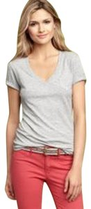Gap V Neck Weight T Shirt Light Gray