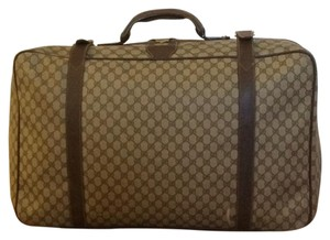 Gucci Vintage Monogram Travel Suitcase Brown Travel Bag
