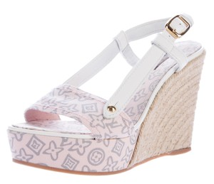 Louis Vuitton Lv Monogram Jute Peep Toe Platform Gold Hardware Beige, White, Pink Wedges