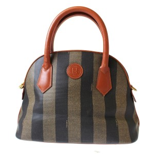 f9a5c405fc Fendi Print Brown Mint Vintage M-l Size Satchel in Wide Striped  Pequin   Coated Canvas