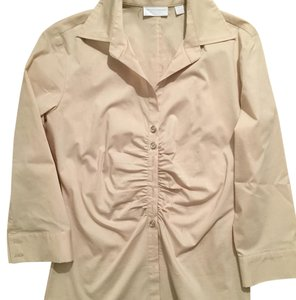 New York & Company Button Down Shirt Tan