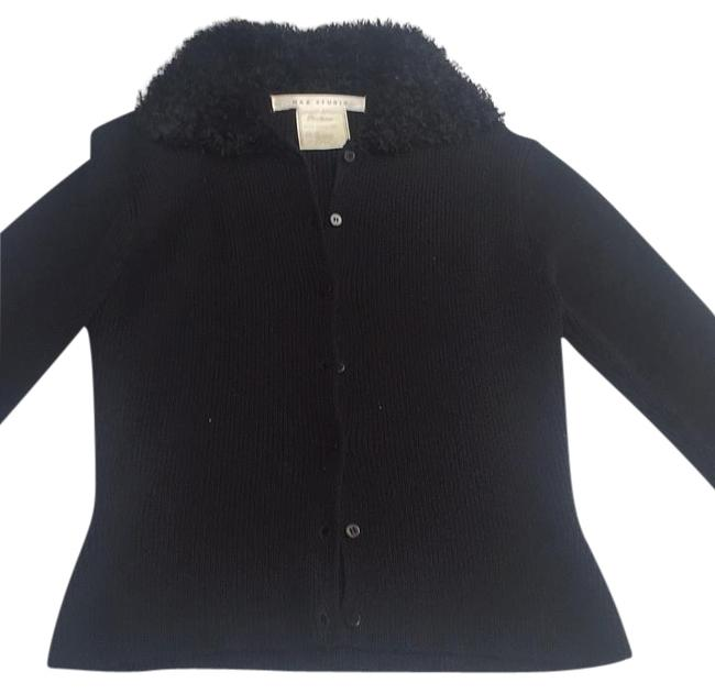 Preload https://img-static.tradesy.com/item/20124253/max-studio-black-knit-sweater-with-plush-collar-cardigan-size-2-xs-0-1-650-650.jpg