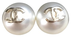 Chanel Chanel Classic Large Pearl Studs with Gold CC Logo Earrings