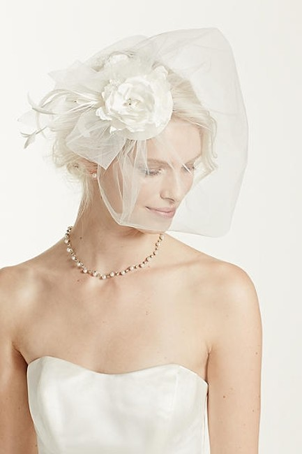 Item - Ivory Birdcage With Tulle Flowers Crystal Lace Feathers Bridal Veil
