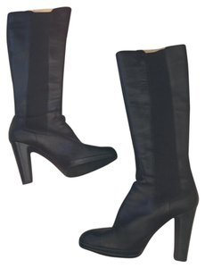 Sergio Rossi Leather Tall Heels black Boots
