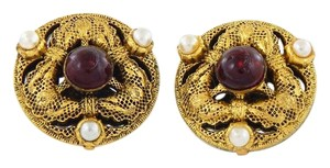 Chanel Vintage Pearl Ruby Earrings