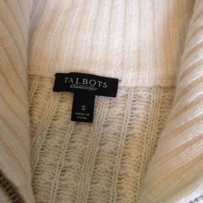 Talbots Elbow Patch Zip Up Cardigan Mock Neck Sweater Image 1