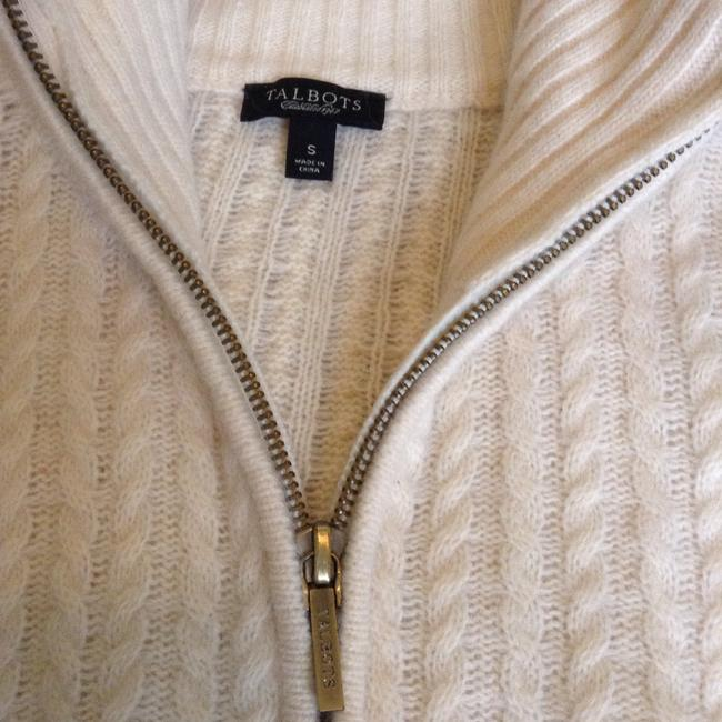 Talbots Elbow Patch Zip Up Cardigan Mock Neck Sweater Image 2