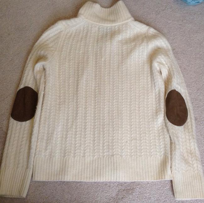 Talbots Elbow Patch Zip Up Cardigan Mock Neck Sweater Image 4