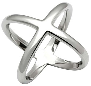 La Bella Rose Stainless Steel Criss Cross X Ring - 06472