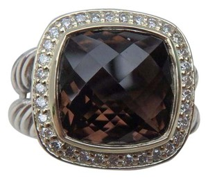 David Yurman 11mm silver Albion Ring with smokey quartz & Diamonds, Gold size 8