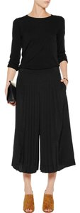 Tibi Pleated Casual Classic Chic Silk Wide Leg Pants Black