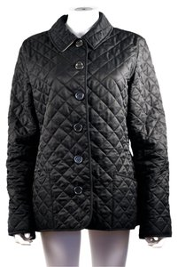 Burberry Brit Quilted Button Up Plaid Black Jacket