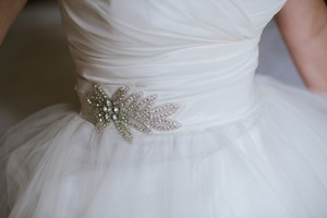 Crystal Bridal Sash With Rhinestones And Beads On Ivory Sash