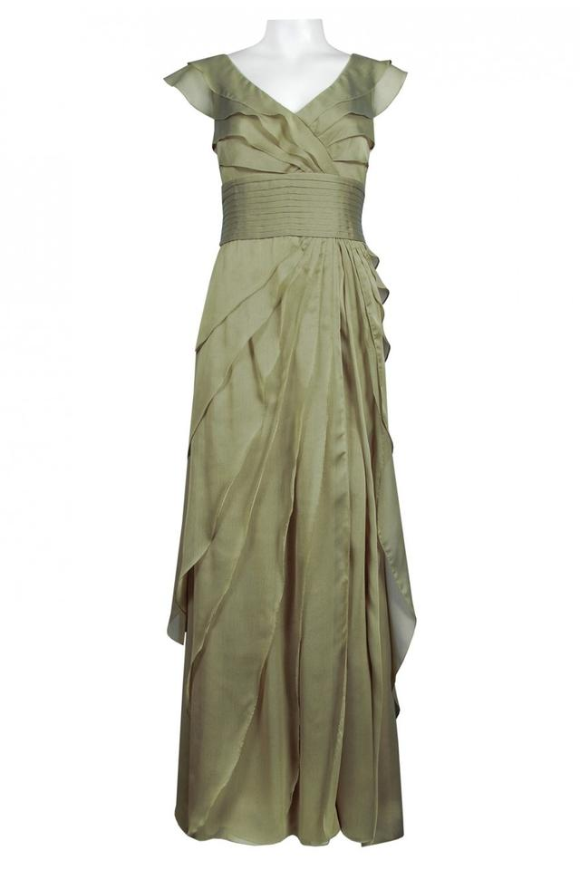 Adrianna Papell Spruce Chiffon Petal Gown Long Formal Dress Size 4 ...