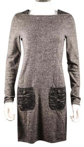 Chanel short dress Gray Sweater Cashmere Black Silver Cc on Tradesy
