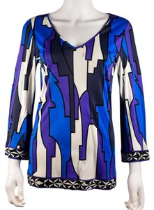 Emilio Pucci Geometric Print Shirt Top Blue