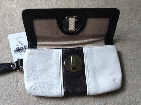 Kate Spade Leather Wristlet in Brown/Cream