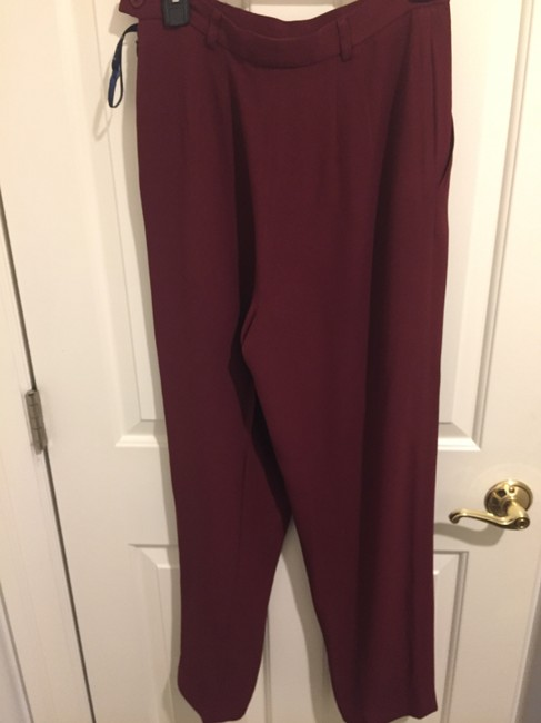 Burberry 70% Acetate 30% Rayon Made In Usa Trouser Pants cranberry Image 1