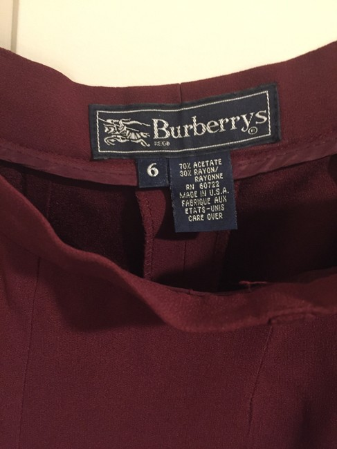 Burberry 70% Acetate 30% Rayon Made In Usa Trouser Pants cranberry Image 3
