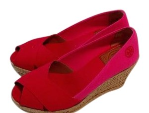 Tory Burch Espadrille Red/Pink Wedges