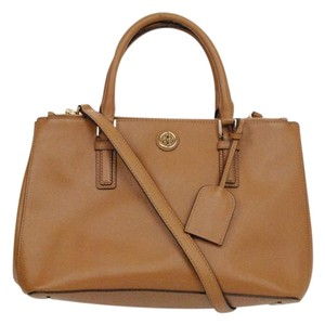 Tory Burch Robinson Leather Satchel in Tan