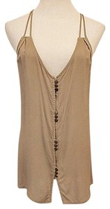 My Story Spaghetti Rayon Evening Button Front Top Taupe
