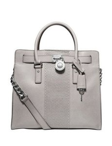 Michael Kors Studded Hamilton Large Satchel in Pearl Grey