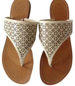 Tory Burch Designer Perforated Flipflop White Sandals