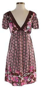 Hale Bob short dress Pink Silk Print V-neck on Tradesy