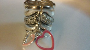 Pink And Silver Tone Heart Dangle With Crystal Set In The Ring