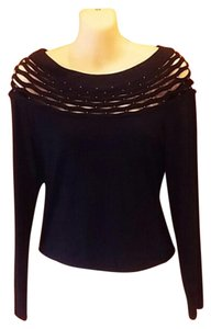 Joseph Ribkoff Top Black and Metallic Gold