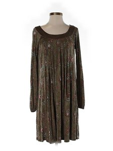 Badgley Mischka Silk Print Longsleeve Shift Dress