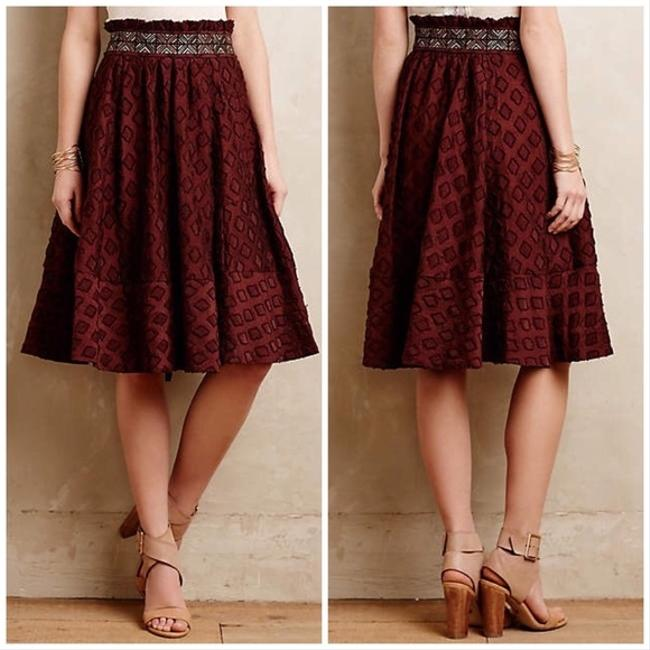 Anthropologie Skirt Maroon Red Image 3