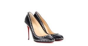 Christian Louboutin Studded Metallic Leather Black Pumps